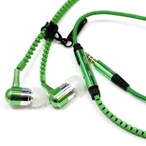 Zipper In Ear Earphone Anti-Tangle Metal Earbuds With Mic Noise Isolating Wired Headphone Sound Stereo (Green)