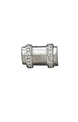 14K White Gold Log Shaped Tie Tac with .05 ct. Diamonds-86197