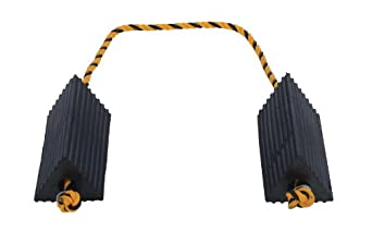 """Vestil AC-13 Rubber Wheel Airline Chock with Rope, 10"""" Width x 4-1/2"""" Height x 5"""" Depth"""