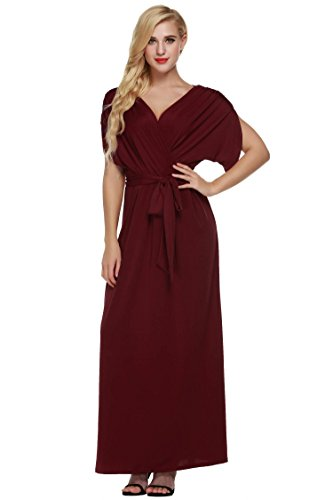 Angvns Women's Elegant Batwing Dolman Sleeve Classy Maxi Evening Dress,D1, Red,XX-Large