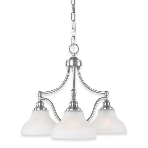 Spectacular Royce Lighting RCES Prescott Three Light Chandelier Brushed Steel with White Alabaster Globes