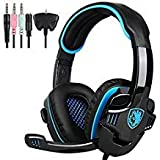 SADES SA708GT 3.5mm Wired Over Ear Stereo Gaming Headset with Mic Noise Isolating for PS4/ PC/MAC/Phones/Tablet in Black Blue (Color: SA708GT Black Blue)