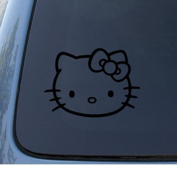HELLO KITTY - Cat Feline - Car, Truck, Notebook, Vinyl Decal Sticker #1093 | Vinyl Color: Black
