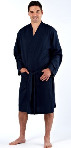 Mens Dressing Gown Lighweight 100% Pure Cotton Jersey Summer (Medium, Navy)