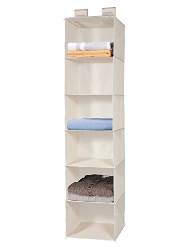 For Sale! 6-Shelf Hanging Closet Organizer, MaidMAX Collapsible Hanging Accessory Shelves with 2 Wid...