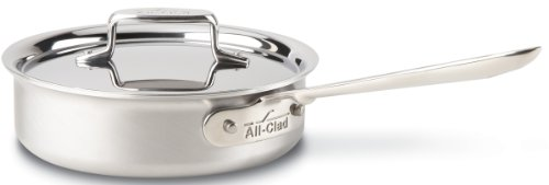 All-Clad BD55402 D5 Brushed 18/10 Stainless Steel 5-Ply Bonded Dishwasher Safe Saute Pan with Lid Cookware, 2-Quart, Silver