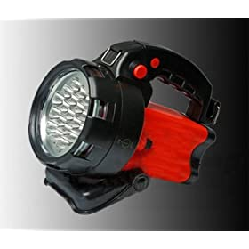 GSI Super-Quality Waterproof Long-Life Rechargeable Spotlight - Lamp Of 19 High Powered LED Bulbs - Flashing/Warning Function - Built In Flashlight Battery, Includes Home and Car Charger - For Camping, Job Sites, Emergencies and All Outdoor Activities