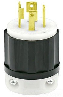 Leviton 2721 30 Amp, 250 Volt 3-phase, NEMA L15-30P, 3P, 4W, Locking Plug, Industrial Grade, Grounding - Black-White (Locking Plug compare prices)