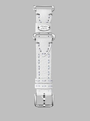 Fendi Selleria 18 mm Genuine Leather Strap Watch Band Stainless Steel (White)