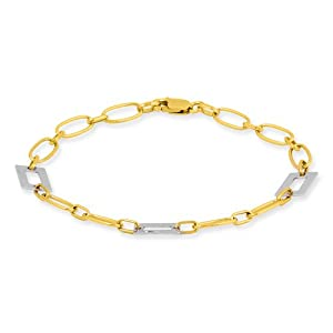 Online Black Friday Sales 7 Inch 14k Gold Two-tone Fancy Bracelet Black Friday