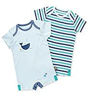 2 Pack Pure Cotton Sea Design & Striped All-in-Ones