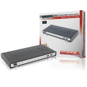 Konig 11.825.2x3.5cm HDMI Matrix Switch 4-Port to 2-Port with Remote Control - Black/Silver