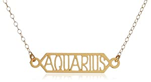"Kris Nations ""Zodiac Signs"" Bar Aquarius 14k Gold Overlay Necklace, 18"""