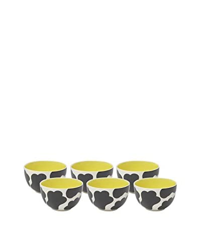 Woodard & Charles Set of 6 Cow Ice Cream Bowls, Yellow