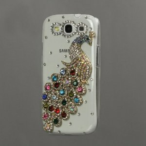 Leegoal(Tm)4C Rhinestone And Diamond Bling -Multi-Color Peacock Crystal Clear Case For Samsung Galaxy S3/Iii I9300