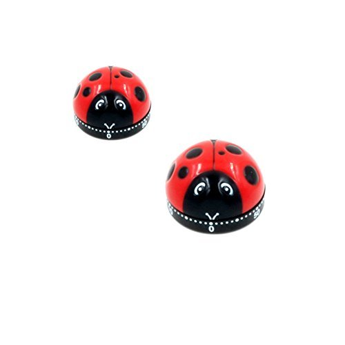 Creative Kitchen Timer-60 Minutes Count Down Kitchen Cooking Time Alarm (Set of 2, Ladybugs) (Duck Egg Timer compare prices)