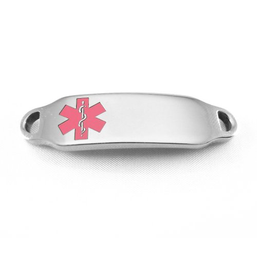 Medical Alert Identification Tag, Can be Attached to an ID Bracelet, Pink Symbol