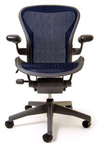 Aeron Chair - Basic by Herman Miller - Graphite Frame - Sapphire Classic Size C (Large)