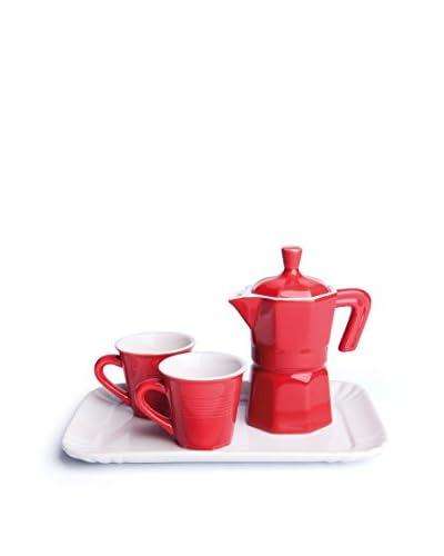 Geniet van huis ontbijtservice 4 stuks . Set rood / wit