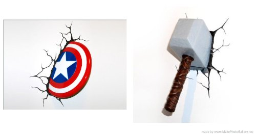 Marvel 3 D Deco Thor and Captain America Night lights- (2 Pack)