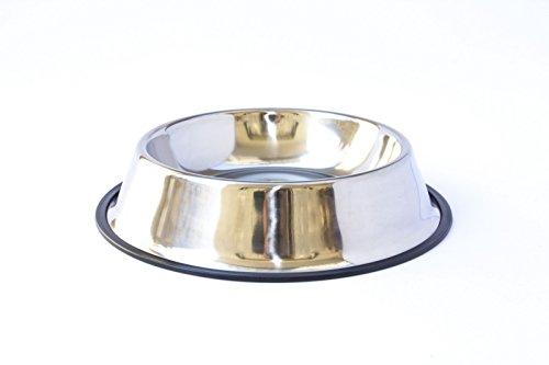 Ciotola antiscivolo per alimenti da circa 21(Ø)cm 1800 ml . Mangiatoia o abbeveratoio in acciaio di facile pulizia, non ossida e dal profilo anti-ribaltamento, ideale per animali domestici di tutte le taglie.
