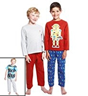 3 Pack Cotton Rich Robot Print Pyjamas