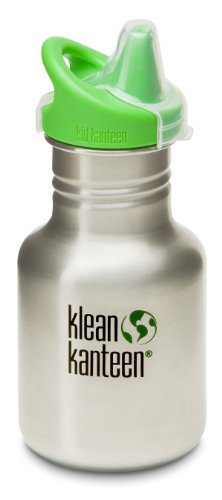 Klean Kanteen 12 Oz Stainless Steel Water Bottle (Kid Kanteen Sippy Cap In Bright Green) - Brushed Stainless front-1060153