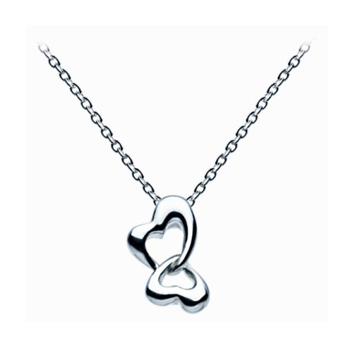 Dew Sterling Silver Butterfly Double Heart Necklace