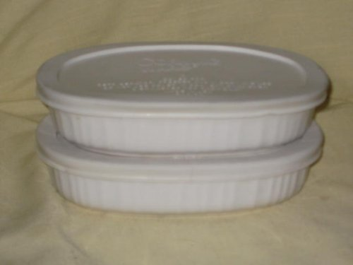 SET OF 2 - Corningware French White 15 Ounce Oval Casserole Baking Dishes w/ White Plastic Lids (Corning Casserole Dish Sets compare prices)