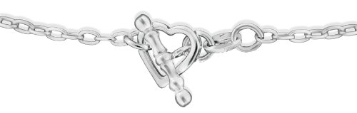 Silver Open Heart T-Bar Necklace 44.5cm/17.5