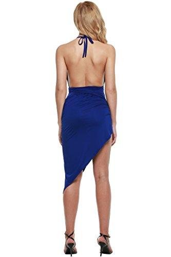 Zeagoo Women's Summer V Neck Backless High Slit Bandage Party Dress,Blue,Small