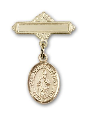 Gold Filled Baby Badge with St. Augustine of Hippo Charm and Polished Badge Pin St. Augustine of Hippo is the Patron Saint of Brewers/Theologians