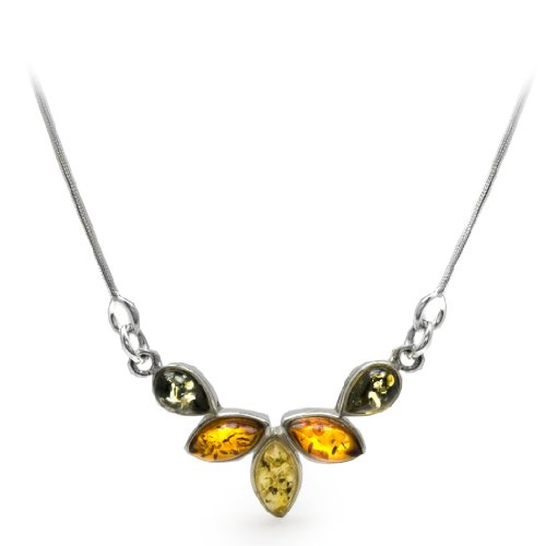Sterling Silver Multi-Color Amber Small Flower Necklace, 18