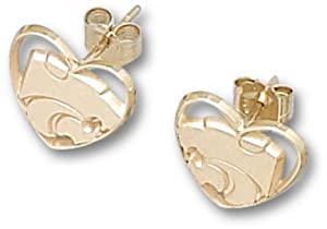 Kansas State Wildcats Small Powercat Heart Post Earrings - 10KT Gold Jewelry by Logo Art