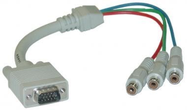HD15 (VGA) Male to RCA x 3 Female, D / Shield, (HD15 to Component Video) Adaptor, 1 ft -- Not For Computer Use