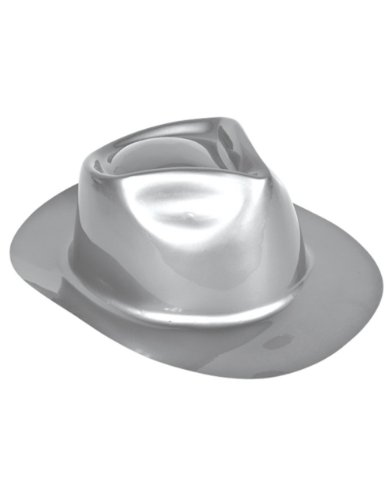 Metallic Silver Gangster Style Costume Dance Crew Fedora Party Hat