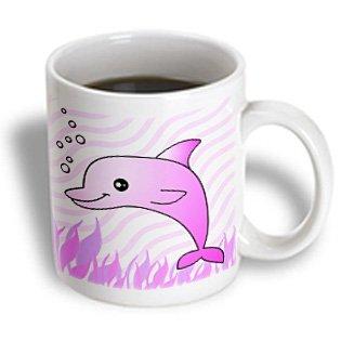 3Drose Cute Pink Dolphin Pink Ocean Mug, 11-Ounce
