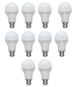 9W Virgin Plastic B22 LED Bulb (White, Pack Of 10)