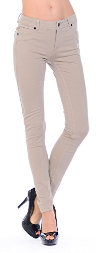 Styleyet Womens BASIC STRETCHY PONTE LONG SKINNY PANTS (Large, Beige) (Ponte Knit Skinny Pants compare prices)