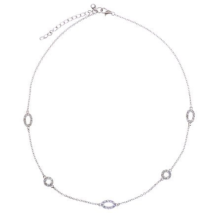 Sterling 925 Silver Necklace 16 inches with Oval CZ Accented in Between Cable Chain - Incl. ClassicDiamondHouse Free Gift Box & Cleaning Cloth