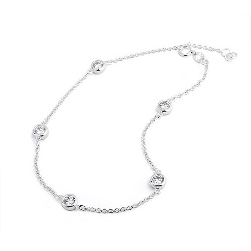 Bling Jewelry CZ by the Inch Sterling Silver Cubic Zirconia Anklet 9 Inch