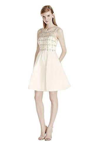 Mikado Wedding Dress Beaded Illusion Bodice with Short Taffeta Skirt Style...