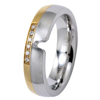 5MM Polished Stainless Steel Wedding Ring with Gold Color Plated Edge and 6 Additional CZs for Women