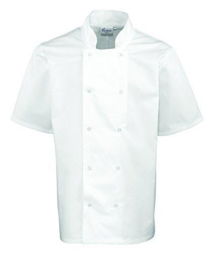 Studded anteriore a maniche corte giacca cuoco White XX-Large