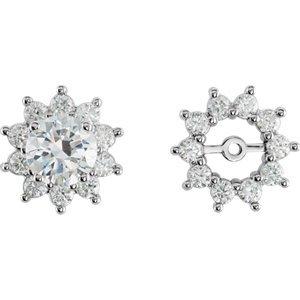 Genuine IceCarats Designer Jewelry Gift 14K White Gold Diamond Earrings Jacket. Pair 3/4 Cttw Diamond Earrings Jacket In 14K White Gold