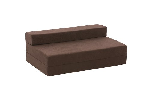 Lyon Double Chair Bed in Chocolate Faux Suede
