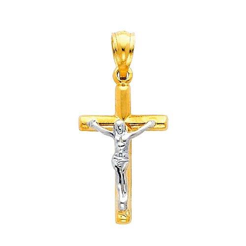 14K Yellow and White 2 Two Tone Gold Jesus Cross Religious Charm Pendant