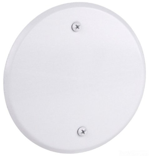 Red Dot CCRB Device Outlet Box Cover, Blank, Round, 5-Inch Diameter, White