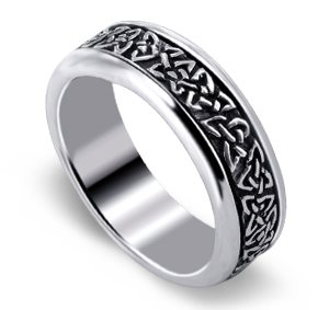 LWRS132-10 .925 Sterling Silver Engraved Celtic Endless knot and Triquetra Design 7mm Spinning Band Polished Finished Ring Size 7, 8, 9, 10, 11, 12