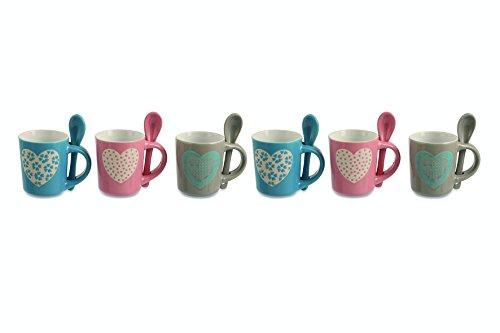 Villa d'Este Romance Set 6 Tazzine da Caffè, Ceramica, Rosa/Fango/Turchese